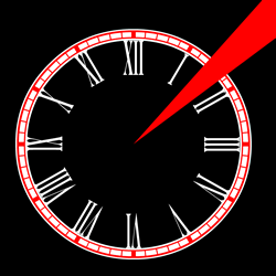 "Screen capture from ""Urbanalities"" by Babel vs. Escha. Black background with a red and white analogous clock face with a red vector shooting out in the middle of one and two."
