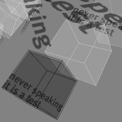 "Screen capture from ""[theHouse]"" by Mary Flanagan. Grey background with various grey cubes of which one has two lines of text written in it. Text: ""never speaking / it is a test"""